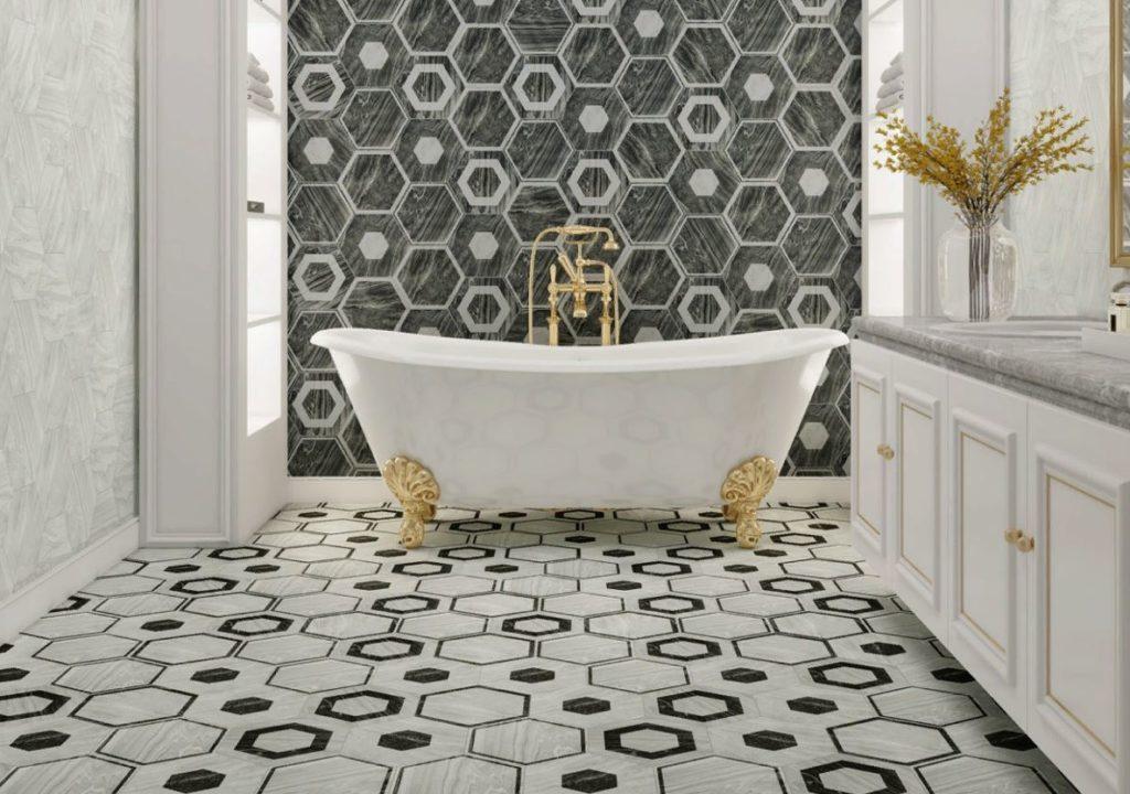 геометрическая плитка для ванной комнаты