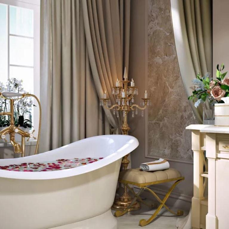 цветочные обои в ванной1
