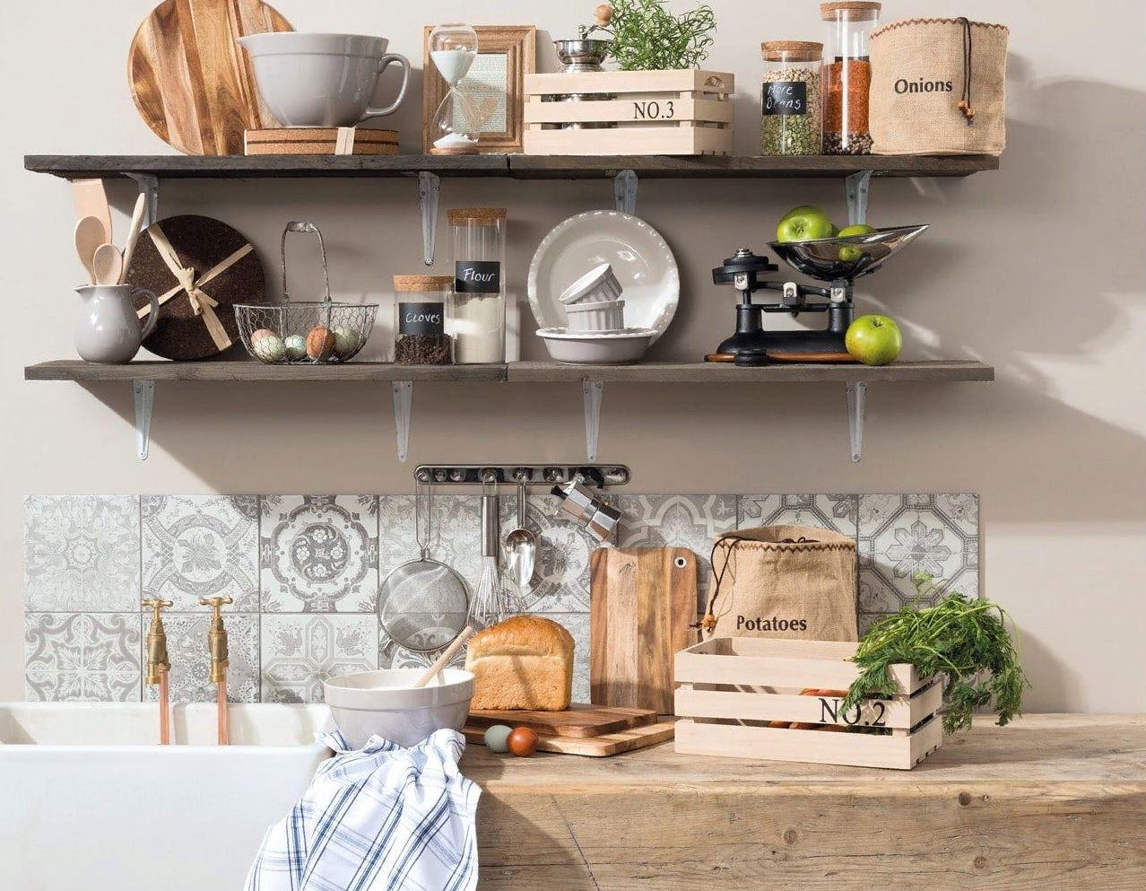 Полки для кухни: виды. дизайн, материалы