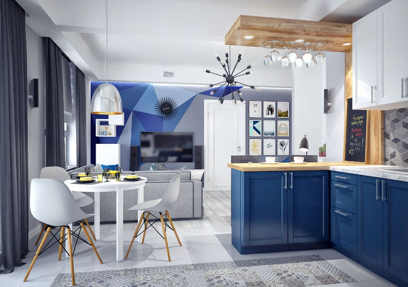 Модная синяя кухня: стильный дизайн и сочетание цветов