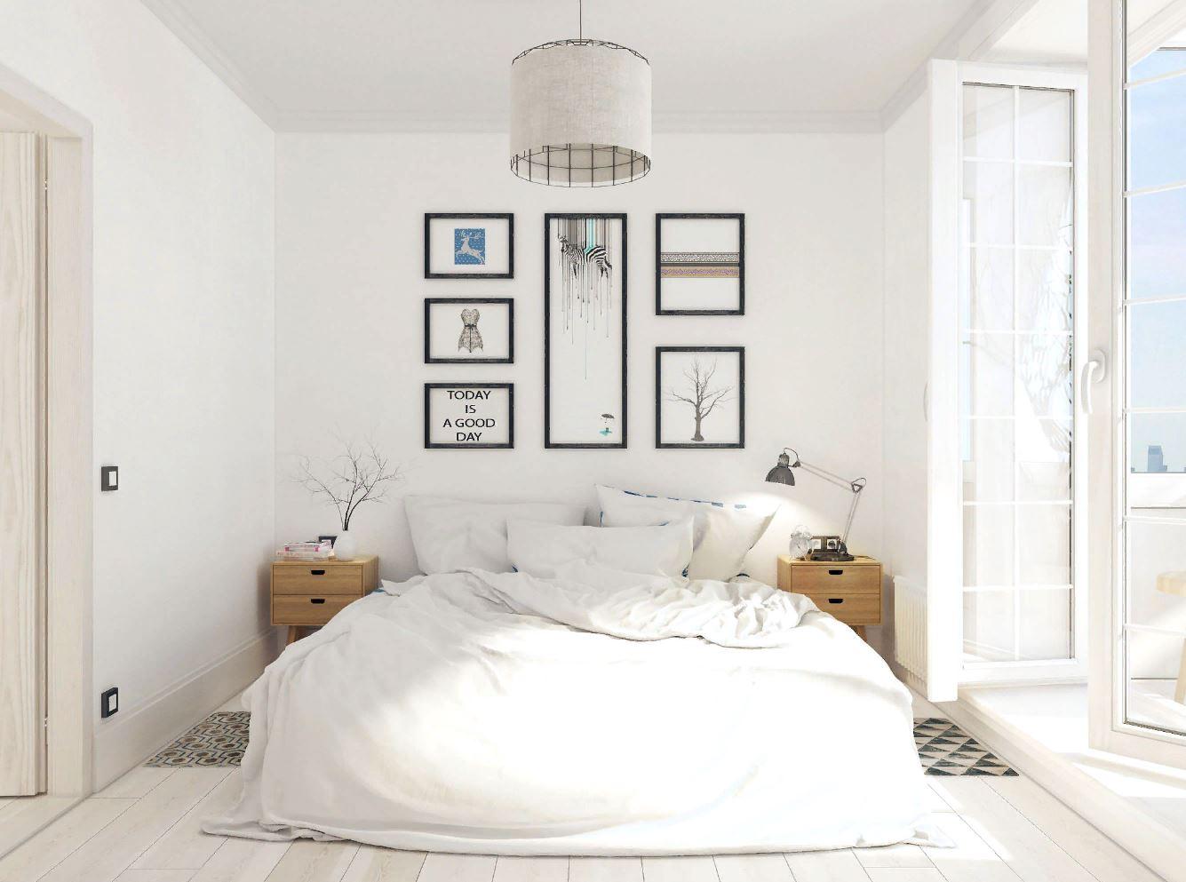 Дизайн интерьера спальни в белом цвете