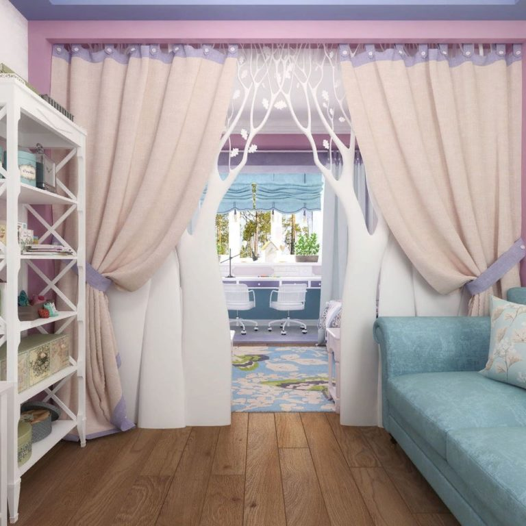 Шторы в детскую комнату: виды, материал, цвет